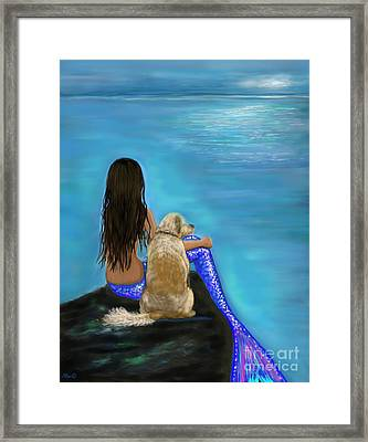 Framed Print featuring the painting Loyal Loving Buddy by Leslie Allen