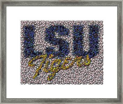 Lsu Bottle Cap Mosaic Framed Print by Paul Van Scott