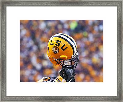 Lsu Helmet Raised High Framed Print by Louisiana State University