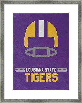 Lsu Tigers Vintage Football Art Framed Print