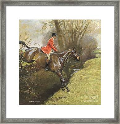 Lt Col Ted Lyon Jumping A Hedge Framed Print by Cecil Charles Windsor Aldin