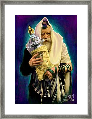 Lubavitcher Rebbe With Torah Framed Print