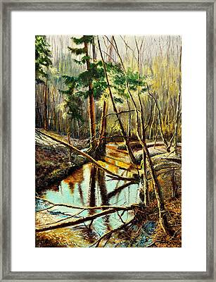 Framed Print featuring the painting  Lubianka-1- River by Henryk Gorecki