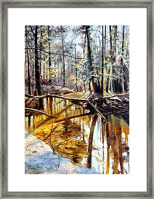 Framed Print featuring the painting  Lubianka-2-river by Henryk Gorecki