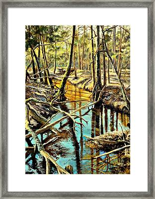 Framed Print featuring the painting  Lubianka-3-river by Henryk Gorecki
