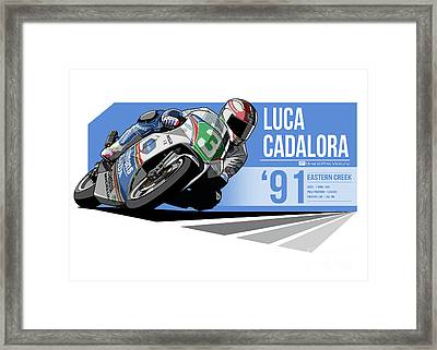 Luca Cadalora - 1991 Eastern Creek Framed Print by Evan DeCiren