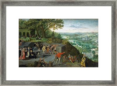 Lucas Van Valckenborch Emperor Rudolf II Taking A Drinking Cure.jpeg Framed Print