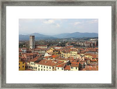Lucca Aerial Panoramic View With Piazza Dell' Anfiteatro Framed Print by Kiril Stanchev