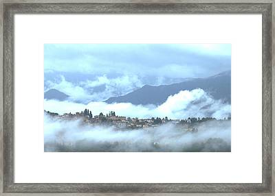 Lucca In The Fog Framed Print by Winston Moran