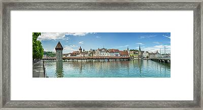 Lucerne Chapel Bridge And Water Tower - Panoramic Framed Print by Melanie Viola