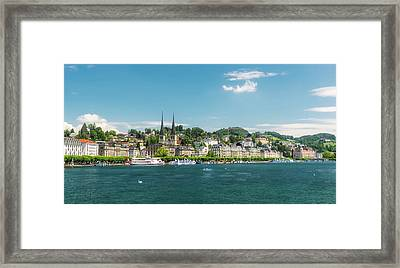 Framed Print featuring the photograph Lucerne Panorama by Wolfgang Vogt
