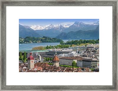 Lucerne View To Lake Lucerne Framed Print by Melanie Viola