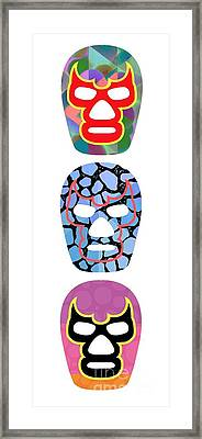Lucha Libre Mexican Professional Wrestling Totem Framed Print by Edward Fielding
