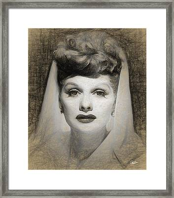Lucille Ball Draw Framed Print by Quim Abella