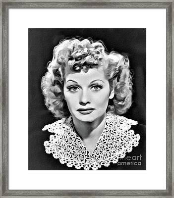 Lucille Ball, Hollywood Legend, Digital Art By Mary Bassett Framed Print
