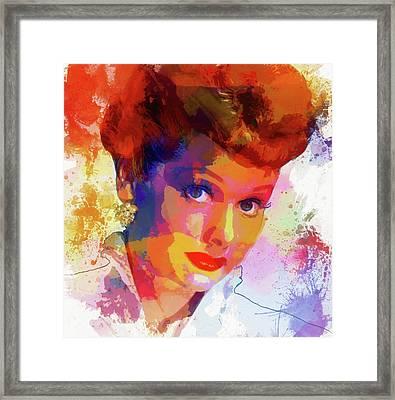 Lucille Ball Paint Splatter Framed Print by Dan Sproul