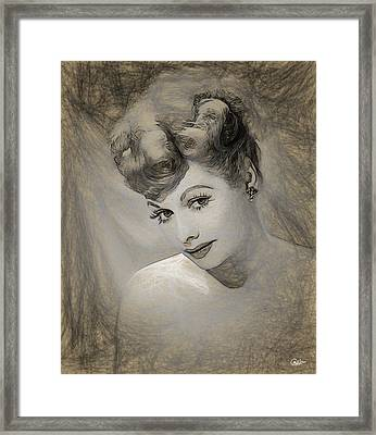 Lucille Ball Pencil Draw Framed Print by Quim Abella