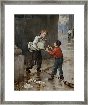 Luck In A Moment Framed Print by Augustus Mulready