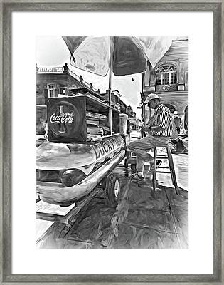 Lucky Dogs And Coke - Paint Bw Framed Print