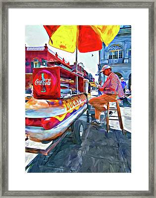Lucky Dogs And Coke - Paint Framed Print