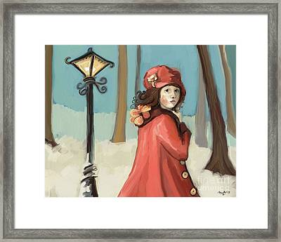 Girl In The Snow Framed Print by Carrie Joy Byrnes