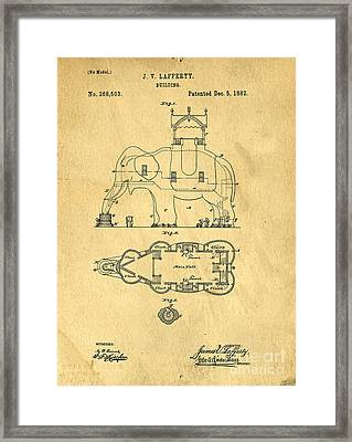 Lucy The Elephant Building Patent 2 Framed Print by Edward Fielding