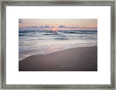 Ludington Beach Sunset Framed Print by Adam Romanowicz