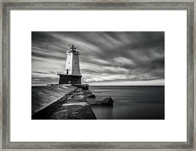Ludington Light Black And White Framed Print by Adam Romanowicz