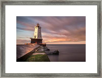 Framed Print featuring the photograph Ludington Light Sunrise Long Exposure by Adam Romanowicz