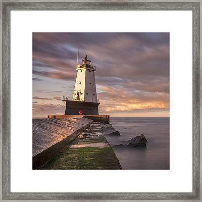 Ludington North Breakwater Light At Dawn Framed Print by Adam Romanowicz