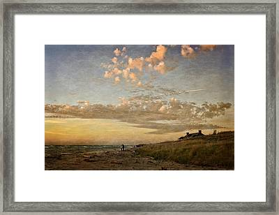 Framed Print featuring the photograph Ludington State Park Beach House At Sunset by Michelle Calkins