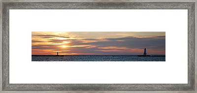 Ludington Sunset Panorama Framed Print