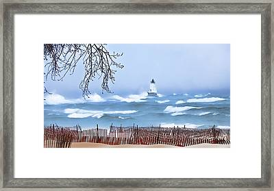 Ludington Winter Shore  Framed Print