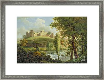 Ludlow Castle With Dinham Weir Framed Print by Samuel Scott