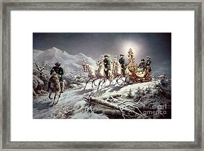 Ludwig II Of Bavaria Sleighing At Night From Neuschwanstein To Linderhof Framed Print