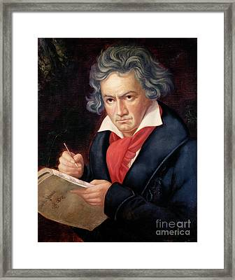 Ludwig Van Beethoven Composing His Missa Solemnis Framed Print by Joseph Carl Stieler