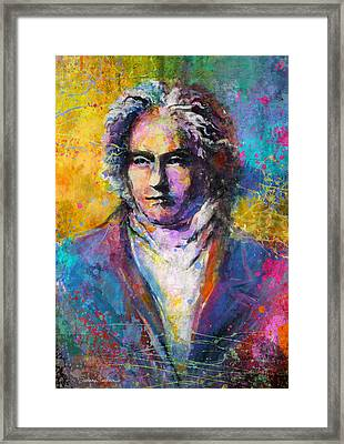 Ludwig Van Beethoven Portrait Musical Pop Art Painting Print Framed Print