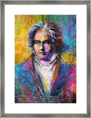 Ludwig Van Beethoven Portrait Musical Pop Art Painting Print Framed Print by Svetlana Novikova