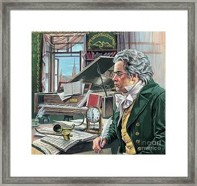 Ludwig Van Beethoven Framed Print by Roger Payne