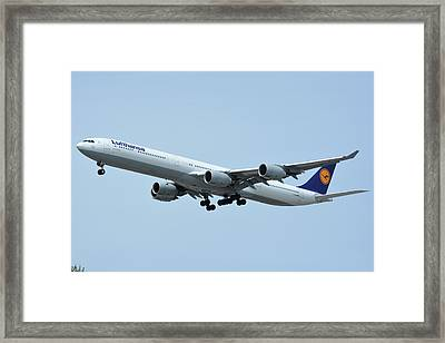 Framed Print featuring the photograph Lufthansa Airbus A340-600 D-aihw Los Angeles International Airport May 3 2016 by Brian Lockett