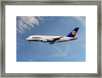 Lufthansa Airbus A380-841 Framed Print
