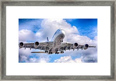 Lufthansa Airbus A380 In Hdr Framed Print