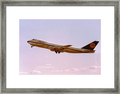 Lufthansa Boeing 747-200 Takes Off From Frankfurt Framed Print