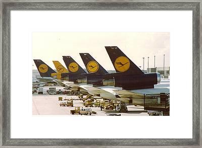 Lufthansa Dc-10s At Frankfurt Framed Print