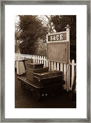 Luggage At Blunsdon Station Framed Print