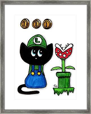 Luigi Kitty Framed Print by Tambra Wilcox