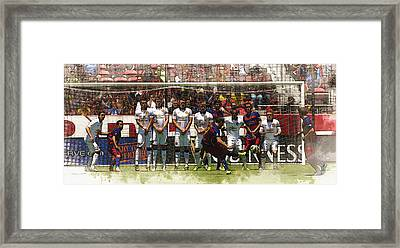 Luis Suarez Hits The Post Framed Print by Don Kuing
