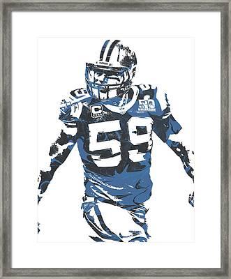 Luke Kuechly Carolina Panthers Pixel Art 5 Framed Print