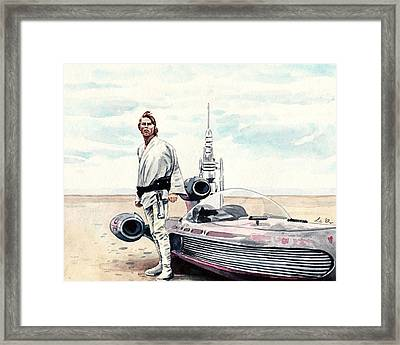 Luke Skywalker On Tatooine Star Wars A New Hope Framed Print by Laura Row
