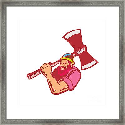 Lumberjack Axe Woodcut Framed Print by Aloysius Patrimonio